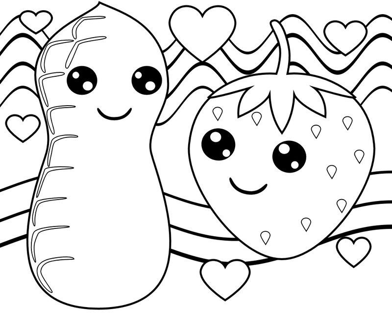 strawberry kawaii coloring pages