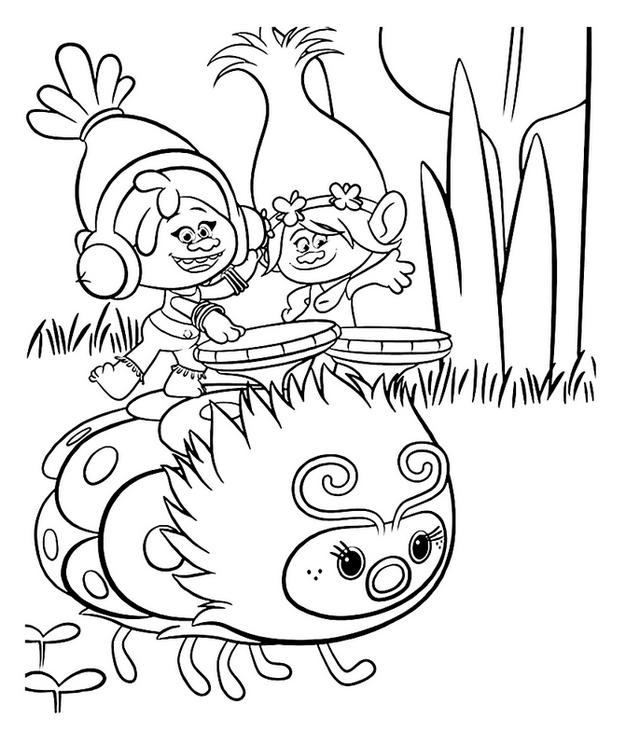 toy trolls coloring sheet