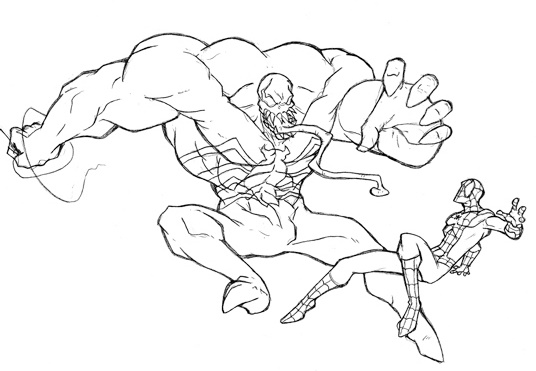 venom vs spiderman American Comic Books Coloring Sheet