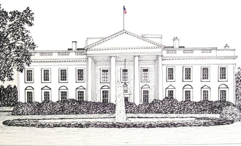 white house architecture coloring picture