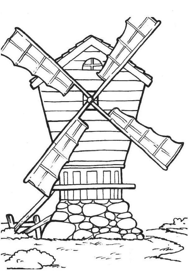 windmill on a rotating shaft coloring sheet