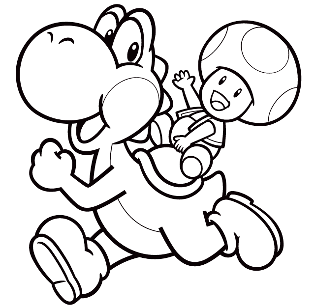 yoshi and toad coloring picture