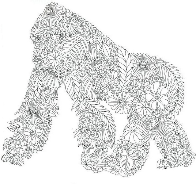 zentangle gorilla coloring mandala page