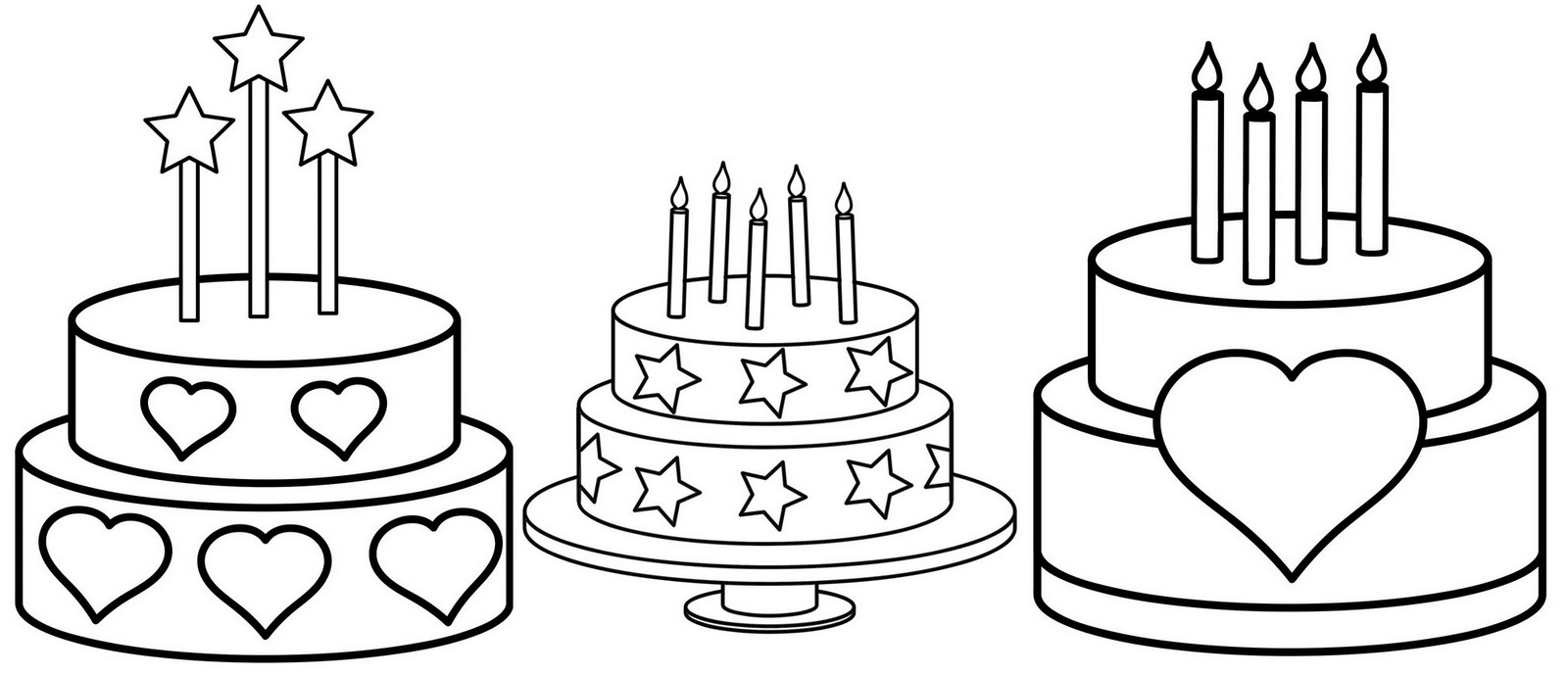 3 designs of birthday cake ideas coloring sheet