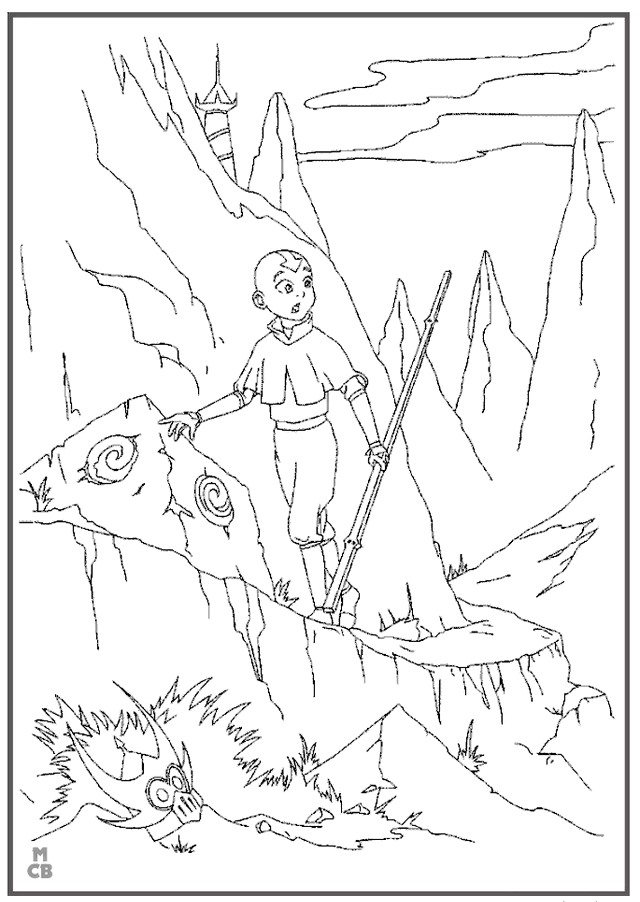 Avatar Aang standing on the mountain coloring page online