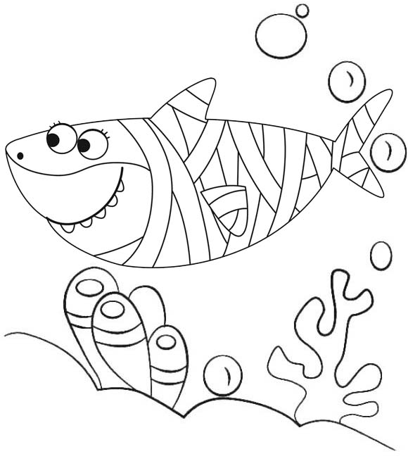 Baby Shark Halloween Coloring Page