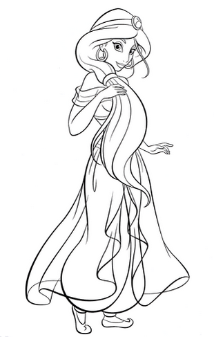 Beautiful Princess Jasmine Disney Coloring Page for Girls