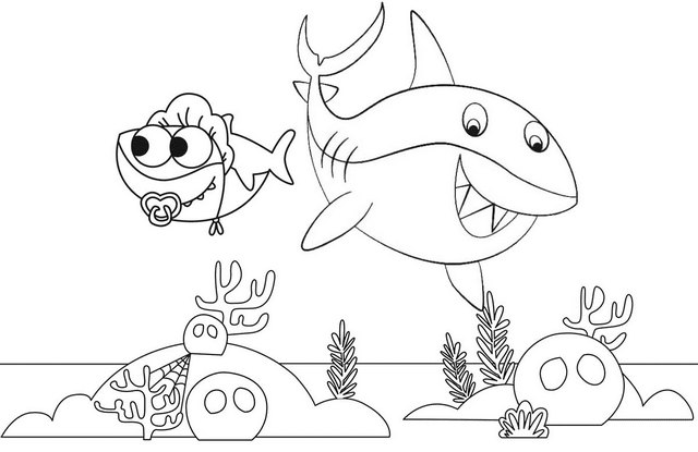 Best Baby Shark Coloring Page Underwater