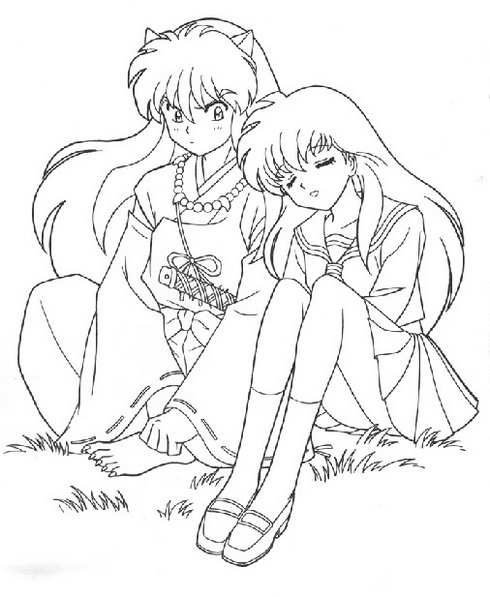 Best InuYasha and Kagome Coloring Picture