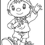 Cute Noddy dancing coloring sheet