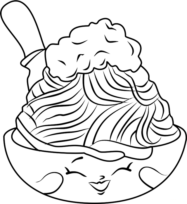 Cute Spaghetti Shopkins Coloring Page