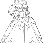 Floral applique wedding dress coloring page