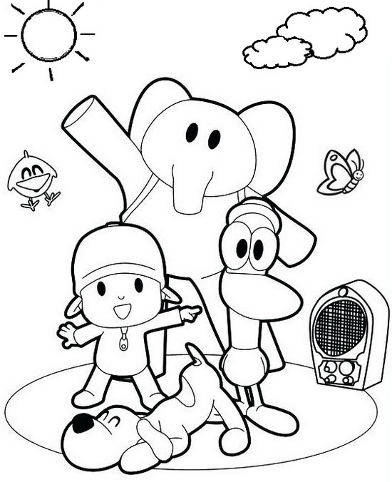 Fun loving pocoyo and friends coloring sheets