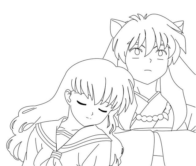 Inuyasha and Kagome Coloring Sheet Online
