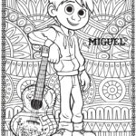 Miguel Coco Coloring Disney Page with zen mandala style background picture