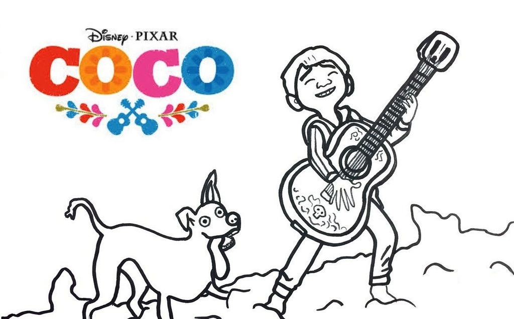Miguel and Dante Coco Coloring Disney Pixar Sheet for Kids