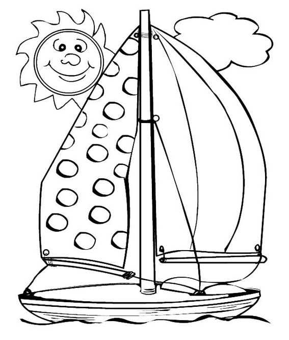Sailboat with Smiling Sun Cartoon Coloring Sheet