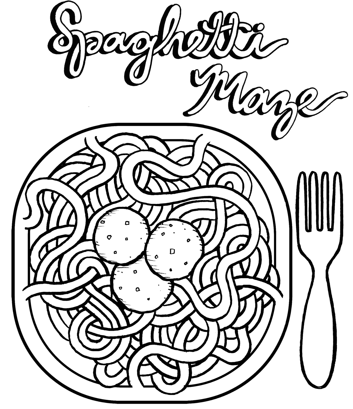 Spaghetti and Meatballs Coloring Sheet Poster