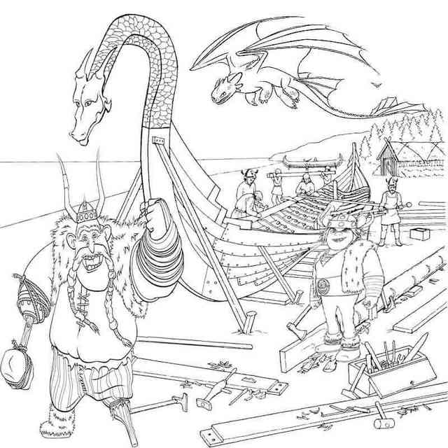 Vicky the Viking building Longboat coloring pages