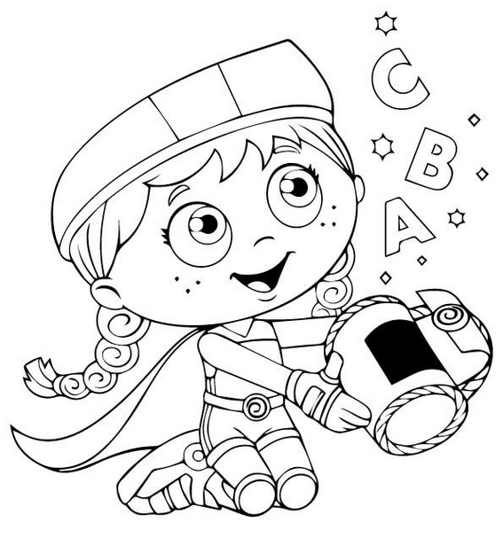 Super why coloring pages wonder red ~ Wonder Red from Super Why Coloring Sheets