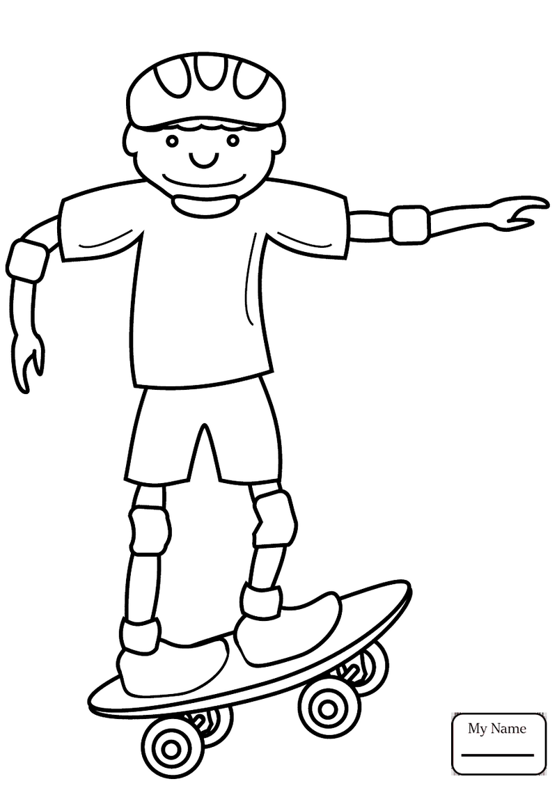 a boy driving skateboard coloring pages
