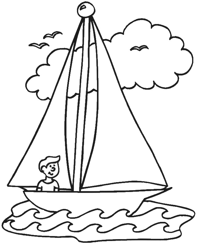 a child in sailboat line art coloring page