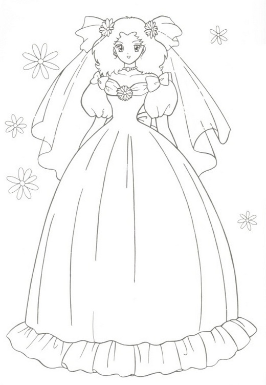 beautiful wedding peach coloring picture
