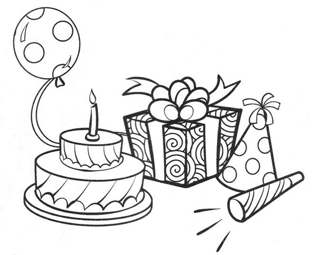 birthday cake and gifts coloring sheet for kids