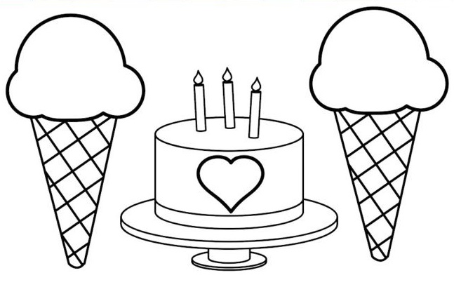 birthday cake with ice creams coloring page