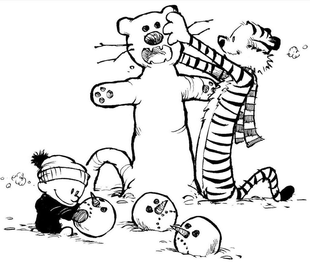 calvin and hobbes christmas playing snowmans coloring sheet