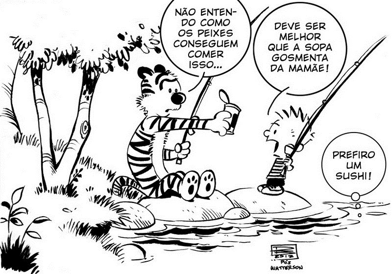 calvin and hobbes fishing coloring sheet for kids