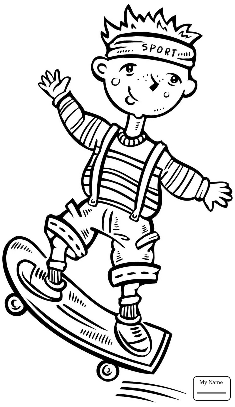 child doing sport a skateboard coloring pages