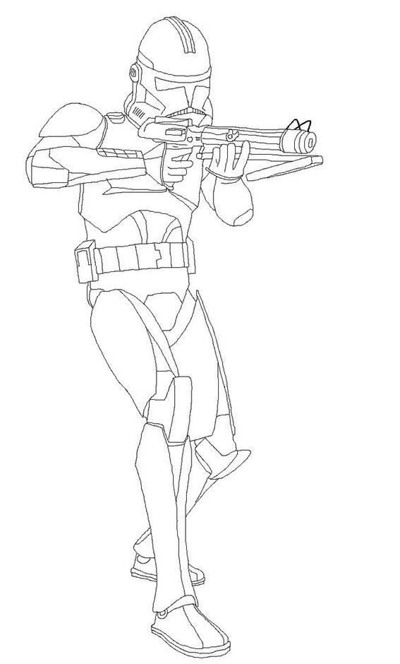 clone trooper line art coloring page for boys