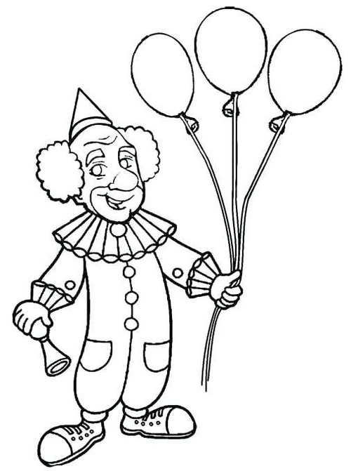 clown holding balloons coloring sheet