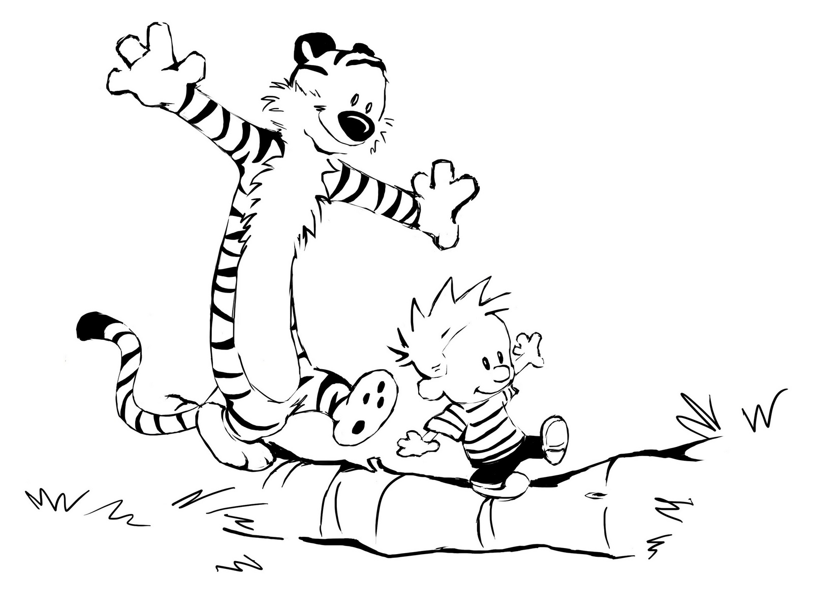 cute calvin and hobbes coloring sheet