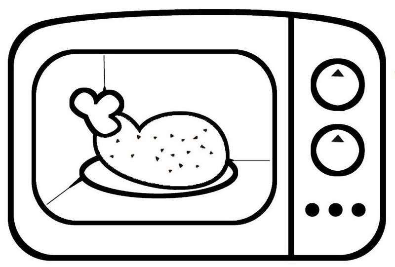 cute microwave cooking chickens coloring page for kids