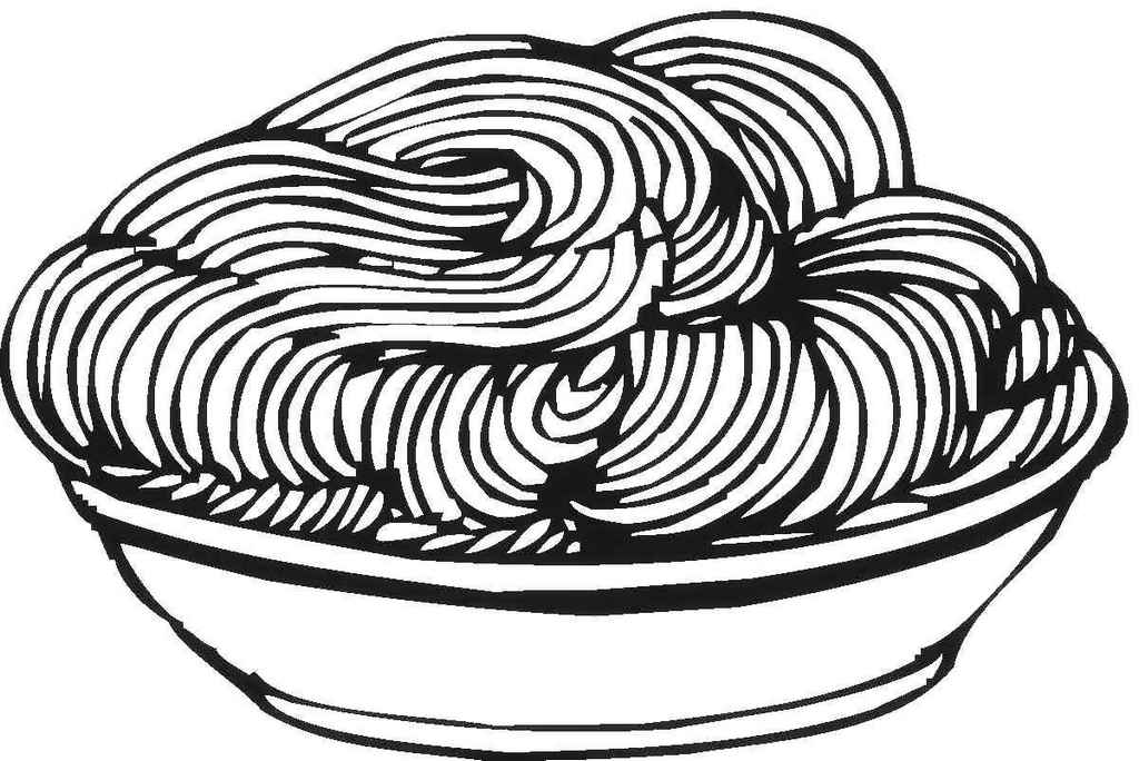 delicious spaghetti coloring sheet