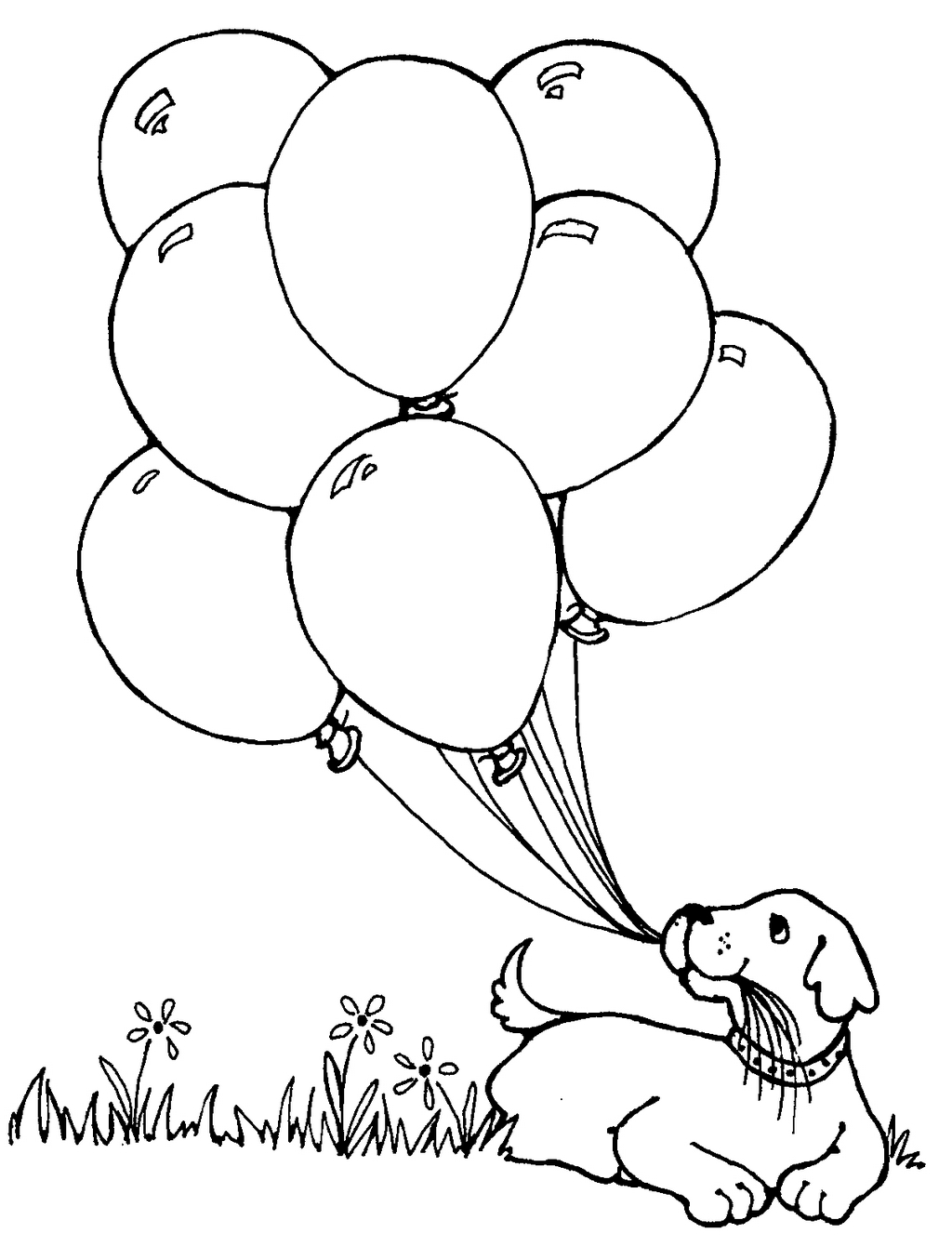 dog and balloons coloring picture