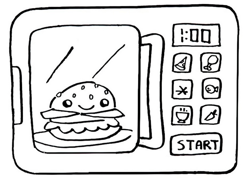 epic microwave ovens cooking a burger coloring sheet