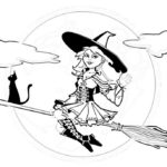 fashiion modern witch coloring sheet