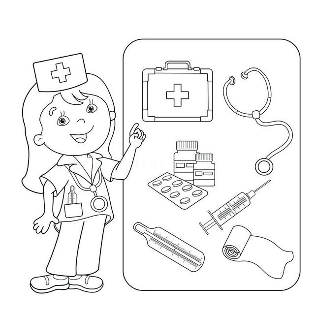 first aid medical euipment coloring pictures