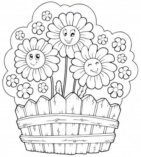 flower garden with fences coloring sheet