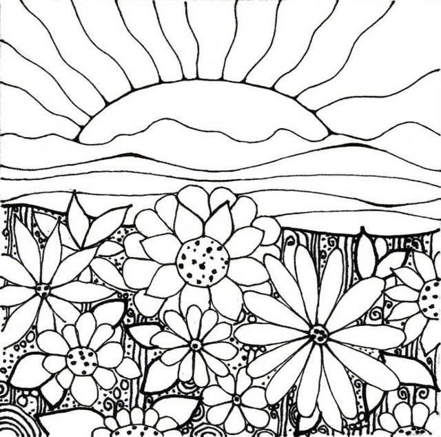 flower garden with sun scenery background coloring sheet