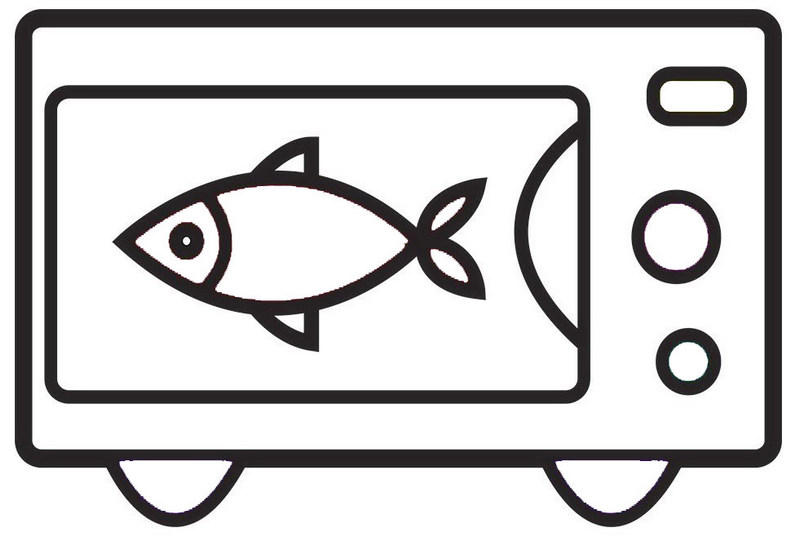 fun microwave cooking fishes coloring sheet for little kids