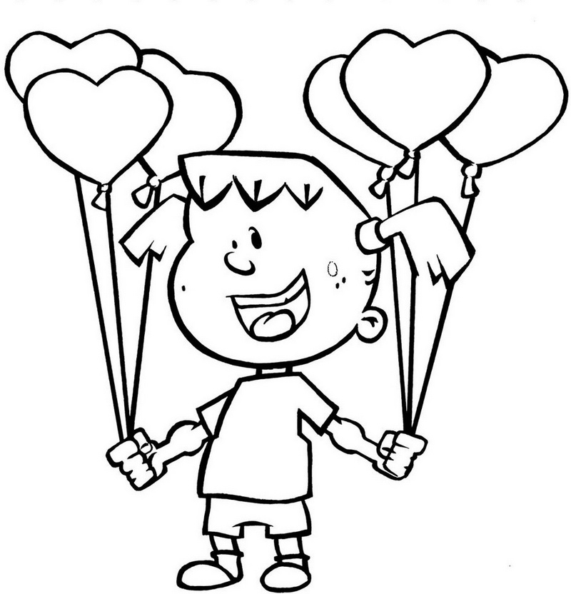 girl holding balloons in two hands coloring page