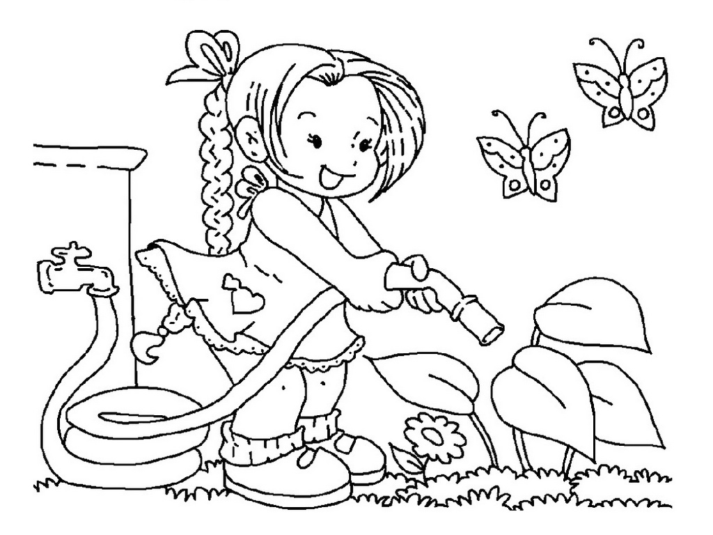 girl watering plant in flower garden coloring sheet