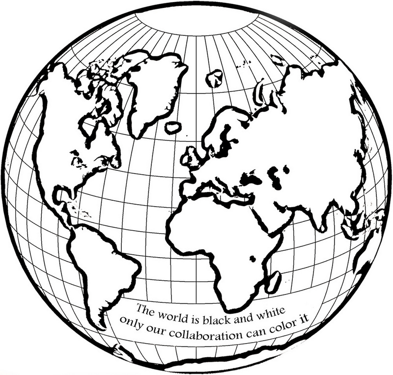 globe coloring world page for kids to learn science