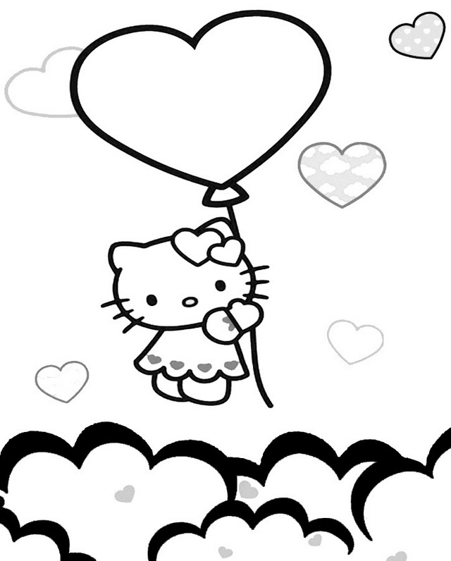 hello kitty holding a ballon and flying above cloud coloring sheet