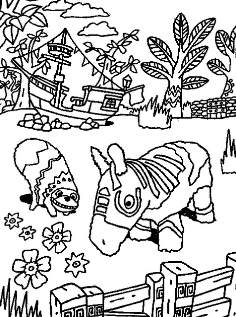 intricate Viva Pinata Coloring Line Art Page