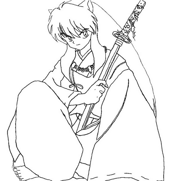 inuyasha half demon and half human coloring pages